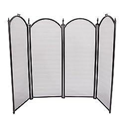 Z ZTDM 4-Panel Iron Arch Fireplace Screen Stylish Outdoor Metal Decorative Safety Foldable Safety fence Black from Z ZTDM