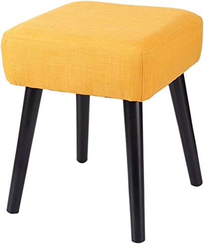 ZEMIN Ottomans Footstool Ottoman Small Soft Enjoy Change Shoes Seat Stool Thin Linen Solid Wood Frame, 5 Colors Color Yellow