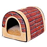 PAWZ Road 2-in-1 Pet house and Sofa Non-Slip Dog Cat Igloo Beds 3-Size Brick S