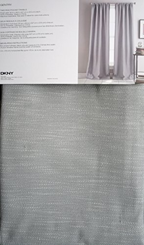 DKNY Set of 2 Window Curtains Room Darkening Rod Pocket Panels 50 by 84-inch Solid Gray with a Woven Textured Pattern -- Gentry (Pattern Gentry)