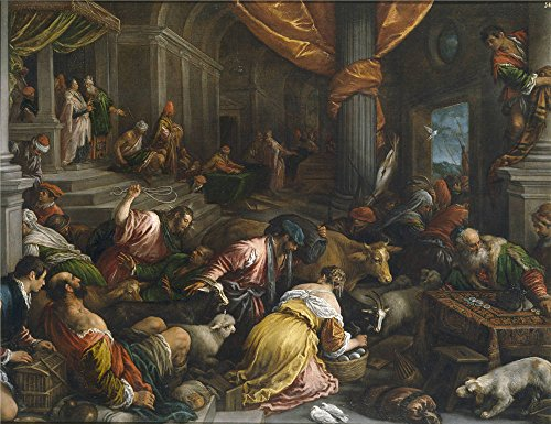 The polyster Canvas of oil painting 'Bassano Francesco Expulsion de los mercaderes del Templo Ca. 1585 ' ,size: 24 x 31 inch / 61 x 79 cm ,this High Definition Art Decorative Canvas Prints is fit for Wall art decor and Home artwork and Gifts