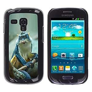 FlareStar Colour Printing Cute Small Ape Monkey Exotic Tropical cáscara Funda Case Caso de plástico para Samsung Galaxy S3 III MINI (NOT FOR S3!!!) / i8190 / i8190N