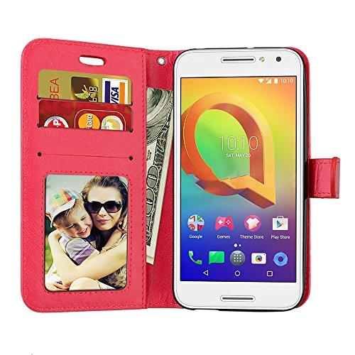 Laybomo Schuzhülle Alcatel A3 Hülle Ledertasche Weiches Gummi Silikon TPU Haut Beutel Schützend Stehen Bilderrahmen Brieftasche Schale Tasche Handyhülle für Alcatel A3 (Weiß) Rot