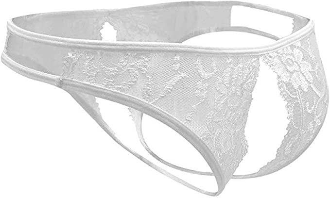 E-Laurels Lace Midnight Cross Back Bow-Tie Front Panties Floral Underwear for Women