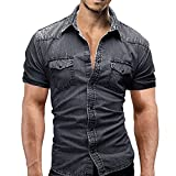 Farjing Clearance Men's T Shirts,Casual Slim Fit Button Shirt With Pocket Short Sleeve Tops Blouse (M,Gray)