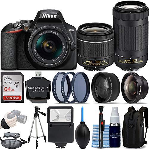 Nikon D3500 DSLR Camera with 18-55mm and 70-300mm Lenses Ultimate Bundle with SanDisk 64gb SD Card + SLR Backpack + 3 Piece Filter Kit + Tripod + Starter Kit