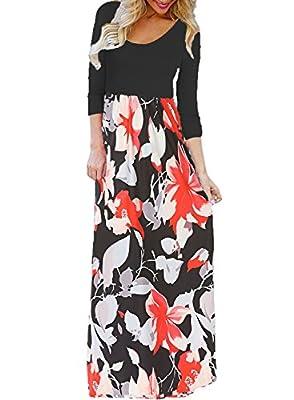 BLUETIME Women's Casual Floral Print Maxi Dress Boho Pleated 3/4 Sleeve Long Dress