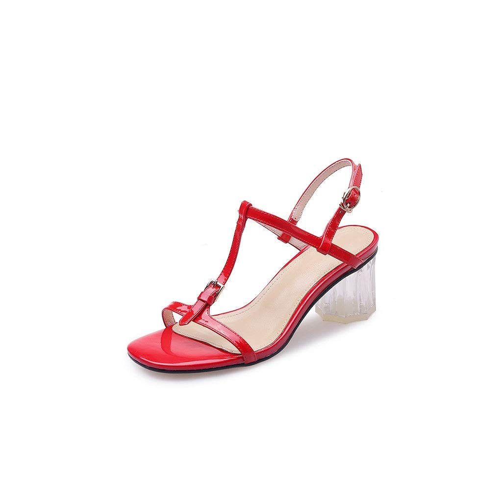 Red Women's Fashion High-Heeled Sandals Summer Decoration Comfortable Beach shoes Women's Fashion Single shoes (color   White, Size   37)
