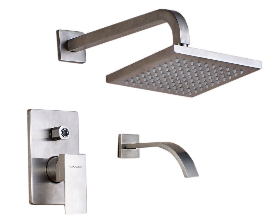 WANGEL Brushed Nickel Bathroom Wall-mounted Stainless Steel Square Rainfall Shower Head without Shower Arm Hot Cold Mixer Shower Faucet,Lead-free to cUPC USA Standard by Wangel Group