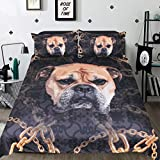 Sleepwish 3 Pieces French Bulldog Bedding Doggie Bed Cover Kid Puppy Dog Bedding Nature Animal and Gold Chain Hypoallergenic Duvet Cover Set (Frenchie, Twin)