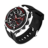 Delight eShop Fashion Men's Military LED Date Alarm Stainless Steel Army Quartz Sports Watch (Black&Red)