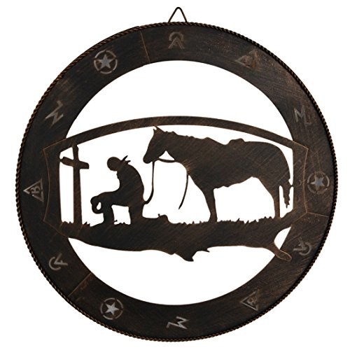 EBEI Praying Cowboy Metal Wall Art Wall Decor Circle Western Home Decor 15