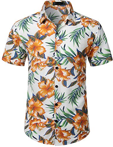 Used, ZEROYAA Mens Hawaiian Tropical Floral Printed Casual for sale  Delivered anywhere in USA