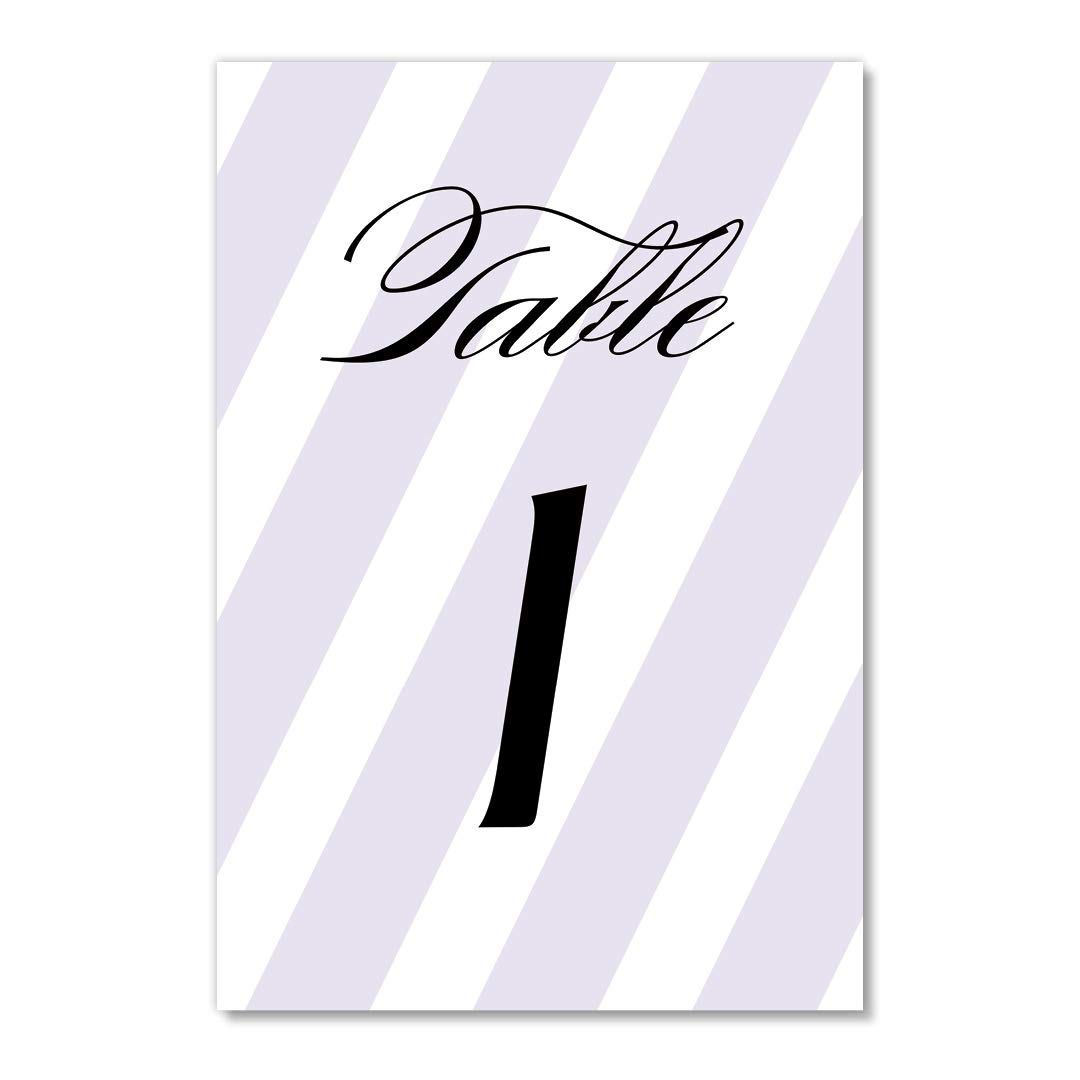 Purple Stripe Table Number Cards 25 Pack Reserved Seating Lovely Single Sided 4