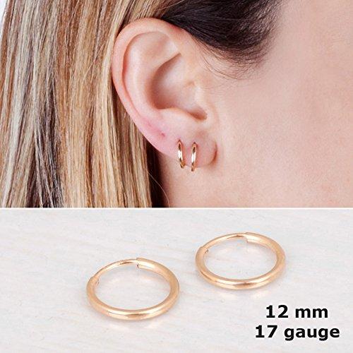 Tiny Gold Filled Hoop Earrings - Designer Handmade 12mm Thin Dainty Pair of ()