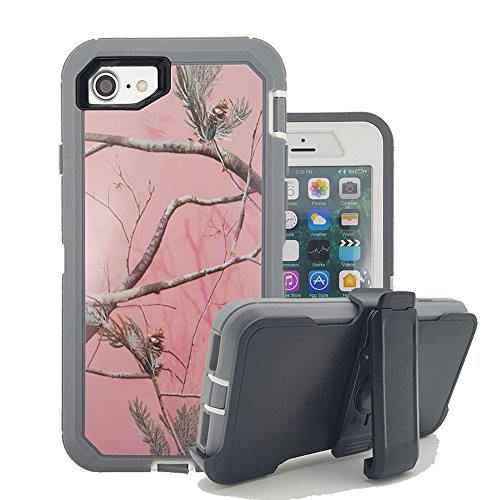 iPhone 8 Plus Case, iPhone 7 Plus Cover, Harsel Shockproof Drop Protection High Impact Armor Hard Plastic Soft Silicone Hybrid Rugged Tree Camo Hunter Outdoor Case for iPhone 7/8 Plus - Pink Tree