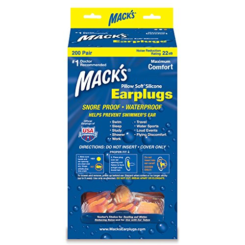 Mack's® Pillow Soft® Earplugs - Individual Pair Dispenser - Hot Orange - 200 Pair by Mack's