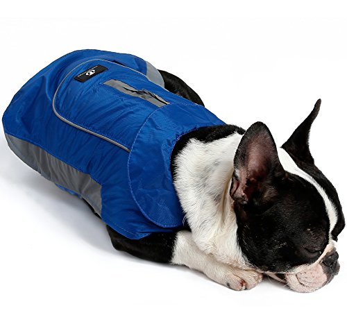 Winter Coats for Dogs - Rain Jacket with Reflective Stripes for Safety - Warm Waterproof Raincoat with Harness Hole - Best for Small Medium or Large Dog 7 Sizes 2 Colors (XS, Blue)