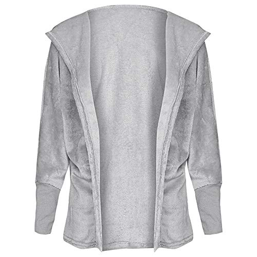 EbuyChX Hooded Long Sleeve Faux Fur Fleece Open Front Solid Color Coat Women H Light Gray M