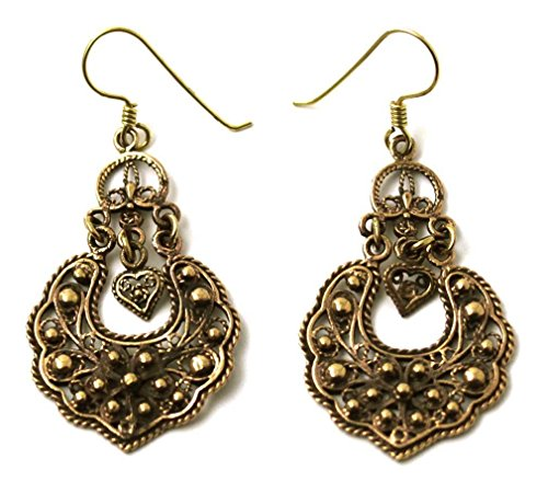Bronze Bohemian Hippie Boho Vine Curve Filigree Drop Dangle Earrings Vintage Thailand Jewelry