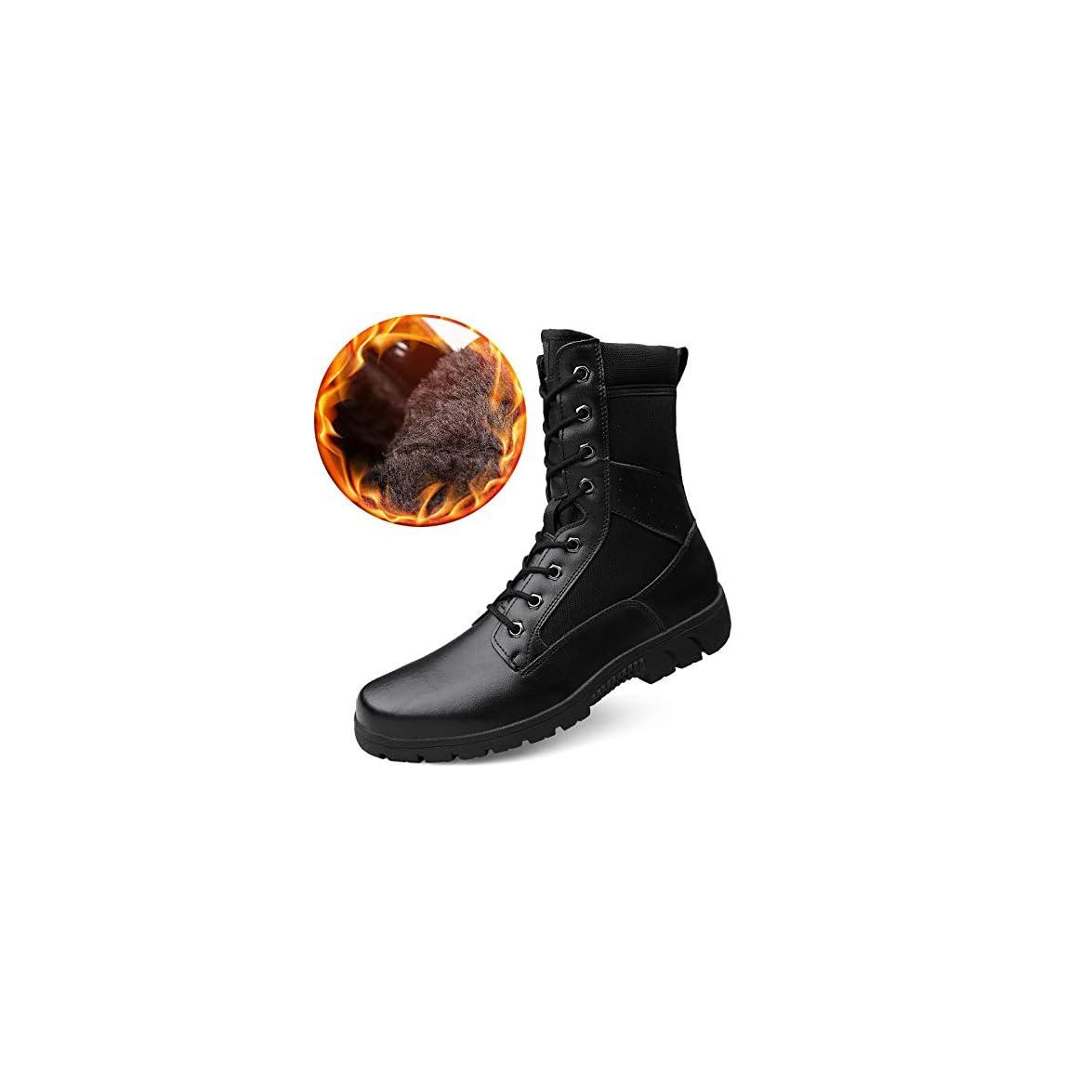 Hcbyj Scarpa Scarpe Da Uomo Di Spessore Invernale In Pelle Utensili Martin Stivali Alti Militari Tattici Ispessimento Alpinismo