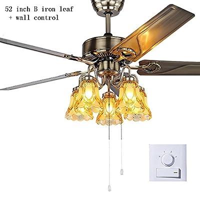 Americano ferro antico ventilatore foglia lampadario europeo antico semplice ristorante soggiorno casa ventilatore a soffitto luce E27 * 5 (colore : 52 inch wall switch)