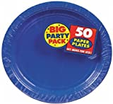 Amscan Big Party Pack 50 Count Plastic Lunch Plates, 10.5-Inch, Bright Royal Blue