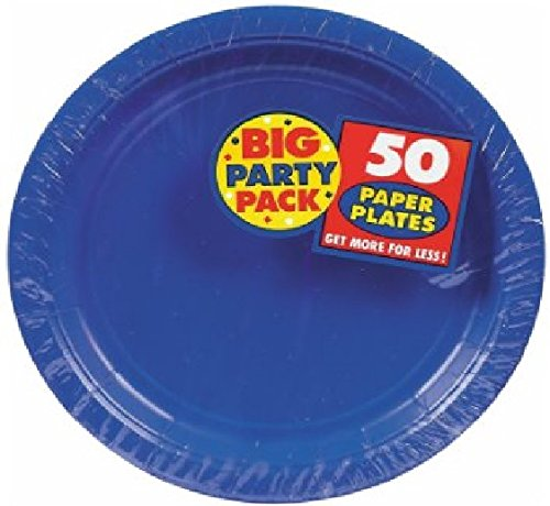 (Amscan AMI 630732.105 Plastic Lunch Plates, 10.5-Inch, Bright Royal Blue)