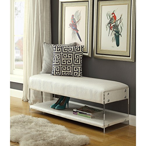 Galileo White Croc Leather Bench - Acrylic Sides | Bottom Shelf | Living Room, Entryway, Bedroom | Inspired Home Leather Crocodile Coffee Table