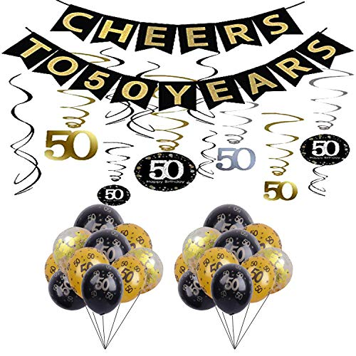 50th Birthday Party Decorations KIT - Cheers to 50 Years Banner, Sparkling Celebration 50 Hanging Swirls,Gold and Black Latex 50 Birthday Balloons, Perfect 50 Years Old Party Supplies 50th Anniversary Decorations