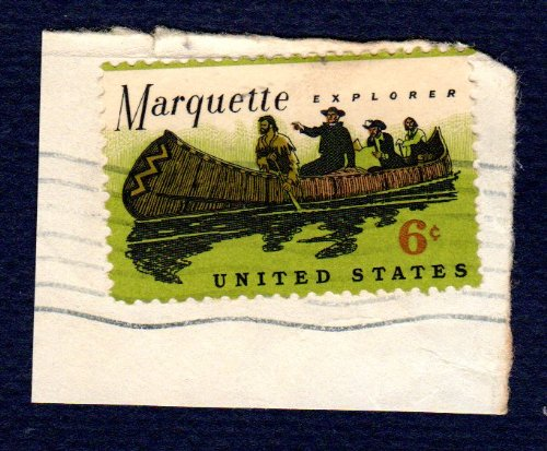 Postage Stamps United States. One Single 6 Cents Black, Apple Green & Orange Brown, Father Marquette and Louis Joliet, Exploring the Mississippi Stamp, Dated 1968, Scott - Louis Joliet