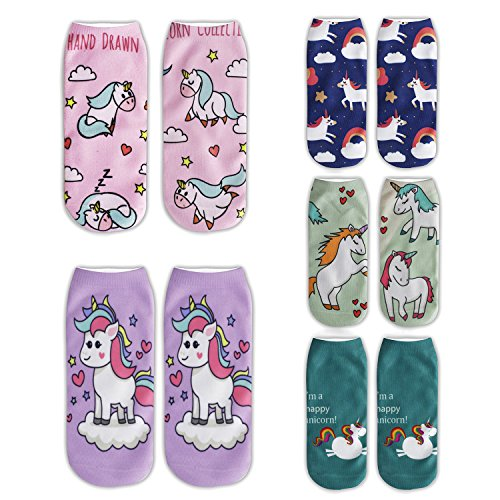 Zmart 5 Pack Funny Crazy Cute Unicorn Ankle Low Cut No Show Socks Value Pack (Unicorn Womens)