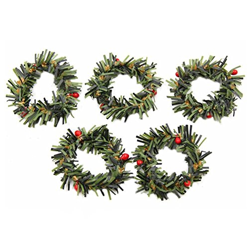 Christmas Mini Wreath - Taloyer 10Pcs Mini Artificial Berry Branches Flowers Wreath Christmas Garland Pendant Decoration Wedding Party DIY Scrapbooking Crafts