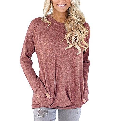 Toimoth Women Casual Long Sleeve Cotton T-Shirt Blouses Tops with Pockets (Red,M)