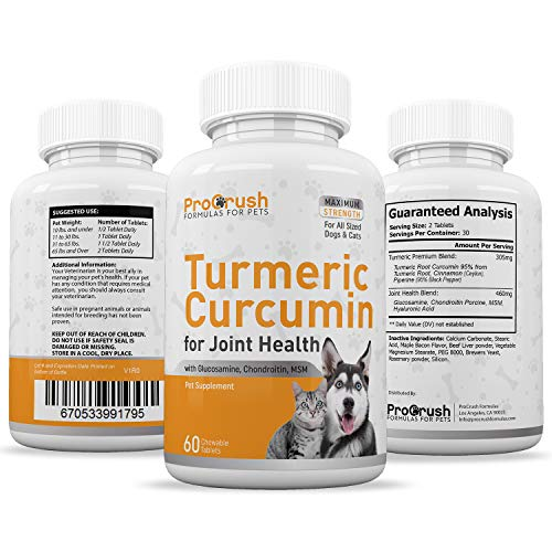 Hip & Joint Supplement for Dogs & Cats- Advanced Arthritis Pain Relief with Glucosamine, Chondroitin, MSM, Turmeric. Increases Mobility & Natural Energy Levels in a Soft Chew Bacon Flavor Tablet.