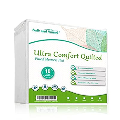 Safe and Sound Ultra Soft Polyester Pongee Waterproof Quilted Fitted Mattress Protector