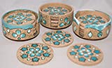 Antique Design Handmade and Hand Carved by Jordanian Artisans - Coaster With Holder - Plate Measurements (3.6'' x 0.2 x 3.6'') - Plate Holder (4.1'' x 3.5 x 4.1'')