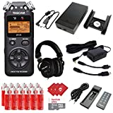 TASCAM Portable Digital Recorder with Microphones, DSLR Accessory Pack, External Battery Pack, AC Power Adapter, SanDisk 32GB Memory Card, 12 pcs AA Batteries and 3 pcs Microfiber Cloth (DR-05)