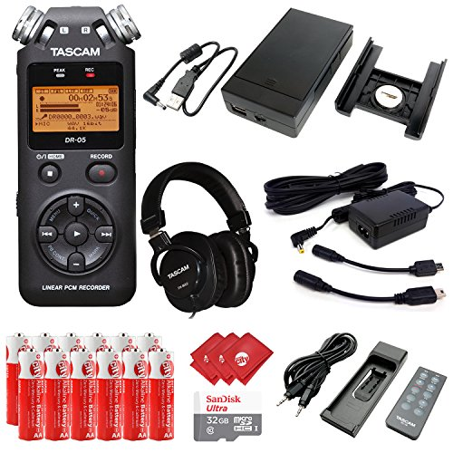 TASCAM Portable Digital Recorder with Microphones, DSLR Accessory Pack, External Battery Pack, AC Power Adapter, SanDisk 32GB Memory Card, 12 pcs AA Batteries and 3 pcs Microfiber Cloth (DR-05) by Circuit City
