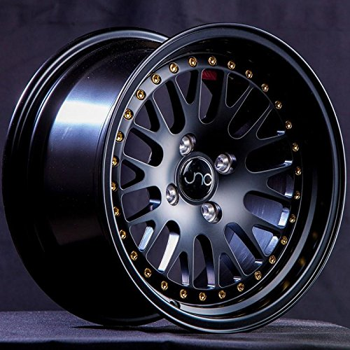 JNC001 Matte Black w/Gold Rivets 16x8 4x100 4x114.3 ET25 Offset Wheel Rim (Honda Civic Rims Gold)
