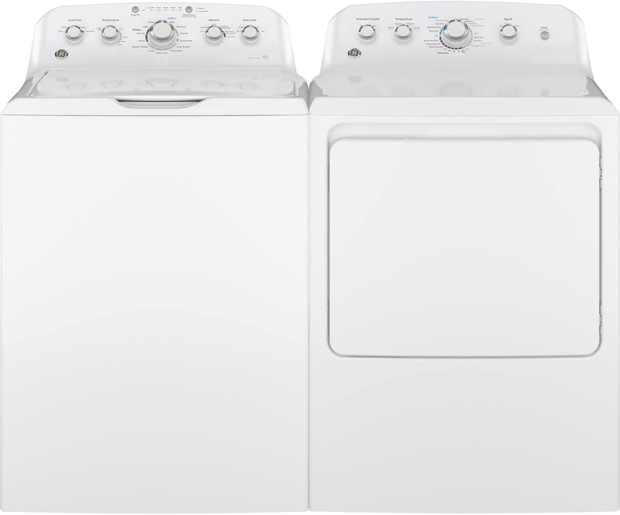 """GE White Top Load Laundry Pair with GTW460ASJWW 27"""""""" Washer and GTD42GASJWW 27"""""""" Gas Dryer"""
