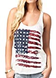 Fashion Women Patriotic American Flag Print Sleeeveless T-Shirt Casual Tank Top Size L (White)