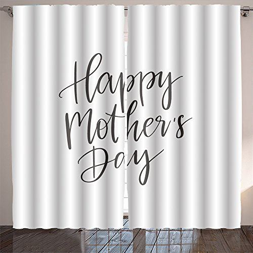 Nalahome vector hand drawn motivational and inspirational quote happy mother s day calligraphic poster Dining Room Kids Youth Room Window Drapes 84x108 inches by Nalahome (Image #1)