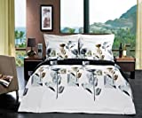 LUXURIOUS Hanna 4 Piece (4PC) Queen Size COMFORTER SET 100% Egyptian Cotton Ultra Soft Single Ply 300 Thread Count. Includes Super Soft All Season White Down Alternative Comforter