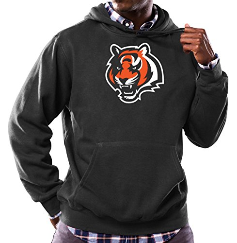 Majestic Cincinnati Bengals NFL Tek Patch Hooded Sweatshirt - Black (Black Tek Patch Hooded Sweatshirt)