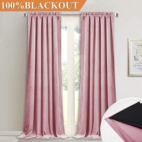 (Soft Velvet Drapes for Daughters Room - Elegant Home Decor Full Light Blocking Black Lined Velvet Curtain Panels, Noise Absorbing Thermal Insulated Drapes for Large Window, Pink, W52