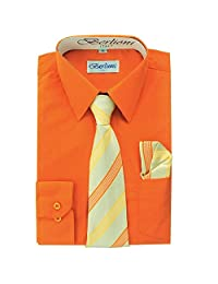 Orange Boys Fashion Solid Dress Shirt Tie and Hanky Set