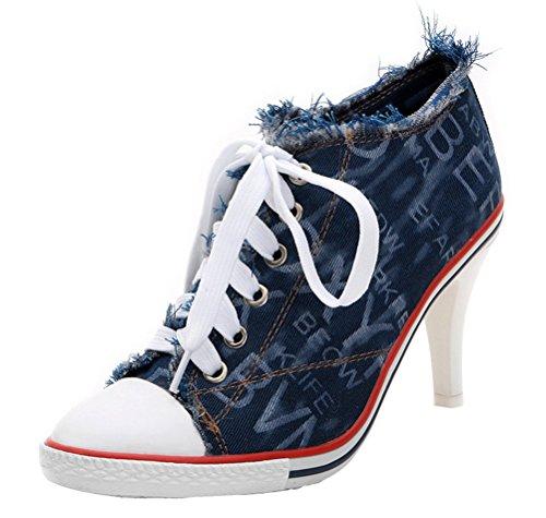 Scarpe Di Tela Jeans Zeppe Donna, Sneakers In Denim Casual Multa Con Scarpe Da Ginnastica Di Tela 2 Colori Blu