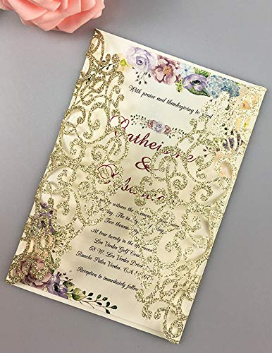 50 Sets Light Gold Glitter Paper Laser Cut Vintage Wedding Invitations Cards Hollow Floral Exquisite Carving Greeting Invites Cards For Engagement