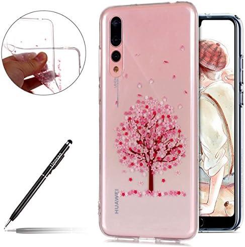 Uposao Kompatibel mit Hülle Huawei P20 Pro Silikon Handyhüllen Schöne Blumen Muster Durchsichtige Ultradünn Schutzhülle Transparent Silikon Bumper Clear Backcover,Pink Blumen